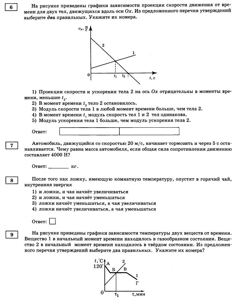 Физика Тренировочный вариант 1