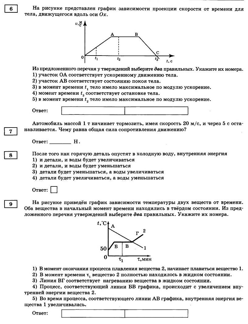 Физика Тренировочный вариант 2